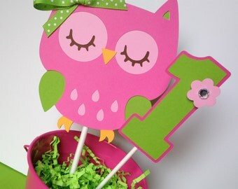 Owl Birthday Party Smash Cake Topper in Pink and Green