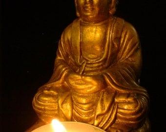 Meditative Buddha with Tea Candle in Burnished Gold Finish