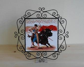 Vintage Bull Fighter Framed Tile