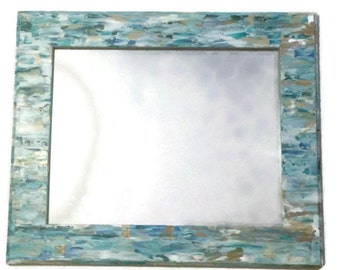 Seaglass inspired beach mirror, Mosaic Style Mirror, Hanging turquoise mirror, decorative bathroom mirror. Teal Mirror