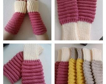 Fingerless Gloves Hand Knit Arm Hand Warmers, Rose/ Cream