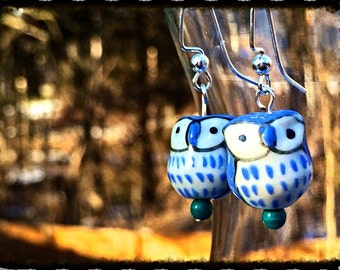 Hippie Earrings, Owl Earrings, Porcelain Owl Earrings, Owl Beads, Beaded Owl Earrings
