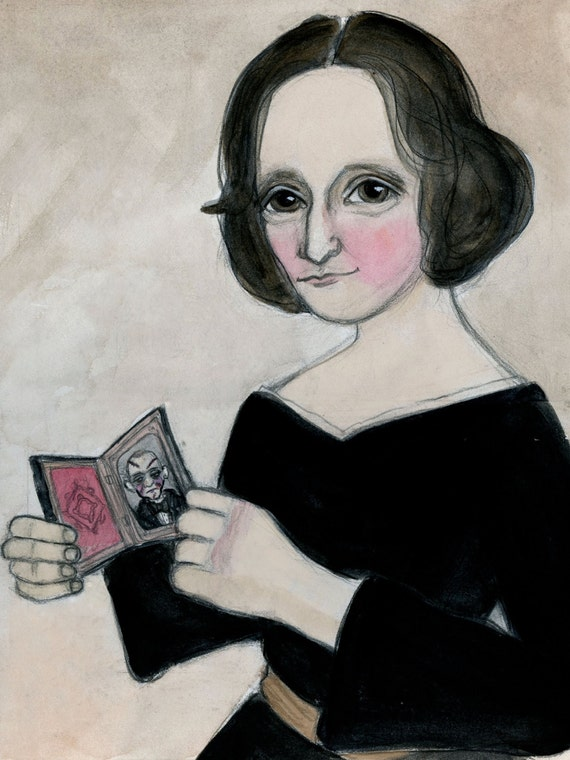 Mary Shelley, Literary Portrait, Art Print, Victorian Writer,  Illustration (6x8) Frankenstein Art, Goth Decor