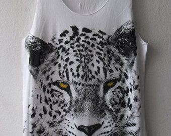 Jaguar Leopard Lion Animal Graphic Design Hand Printed Tank Top M