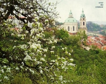 Prague photography, St Nicholas church, Soft pastels, Petrin Hill, Cherry blossom art, Shabby chic home, Fine art prints, Prague print