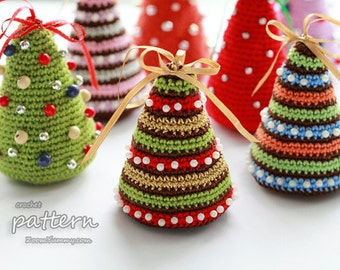 Crochet Pattern - Little Colorful Christmas Trees (Pattern No. 052) - INSTANT DIGITAL DOWNLOAD
