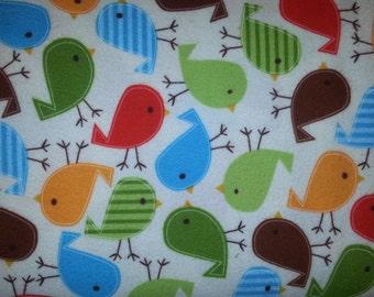 Flannel Urban Zoologie Screen Print in wild or Bermuda birds By Ann Kelle For Robert Kaufman Fabrics 1 yard flannel cotton Print