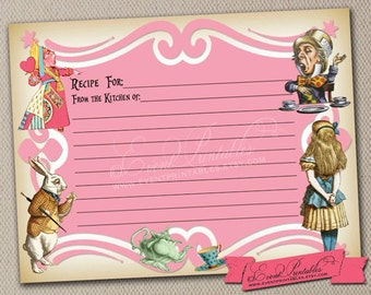 Printable Recipe Cards, Alice in Wonderland Tea Party Bridal Shower Game in Pink, DIY File, INSTANT DOWNLOAD by Event Printables