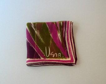 Mid Century Vera Neumann Scarf - Purple / Olive Semi Sheer