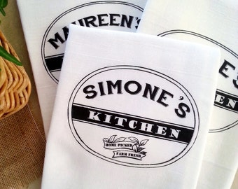 Personalized  Kitchen Tea Towel, Custom Gift, Kitchen Flour Sack Towel, Cotton Kitchen Towel, Gift For Hostess, Home Decor