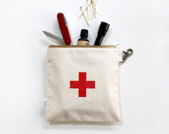 First Aid Bag, Men, Women, Canvas, Utility, Zipper Pouch, Swiss Red Cross, Men, Pouch, Unisex, Organizer, Travel Bag, Women