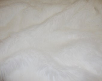"Fur faux fake White shaggy faux fur fabric by the yard 60"" wide"