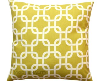 Accent Pillow, Gotcha Summerland Citrine Pillow Cover, Yellow Cushion Cover, Zippered Pillow, Chainlink Pillow, Lattice Pillow, Green-Yellow