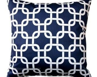Navy Throw Pillows, Decorative Pillow, Gotcha Blue Pillow Cover, Navy Pillow Case, Chainlink Pillow, Zippered Pillow, Navy Trellis Pillow