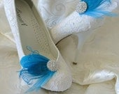 Bridal Feathered Feather Shoe Clips Rhinestone Accents Peacock  Blue Aqua White Set of 2