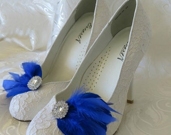 Bridal Feathered Feather Shoe Clips Rhinestone Accents Royal Blue  Set of 2