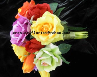 Rainbow Bridal Bouquet. Premium Quality Roses in Orange Coral Yellow Purple Lime Green Hot Pink Hand Tied Round Wedding Flowers. Rhinestone
