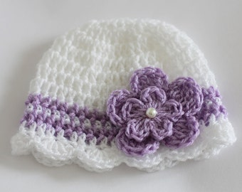 Reserved for Jo - Baby Hat Beanie  0-3 Months Crochet Baby Girl Hat White Lavender with Flower and Pearl