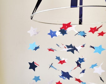 The Red, White and Blue Star Mobile DIY Kit / / / Nursery Decor, Photo Prop, Baby Shower Gift, Mobile.