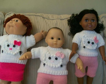 8) Knit 3D Kitty - Hello Kitty Pullover Sweater for American Girl and Cabbage Patch or any 18 and 15 Inch Dolls