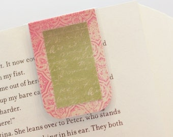 Magnetic Bookmark, Laminated Bookmark, Vintage Script Print Bookmark, Pink Green White, Ready to Ship