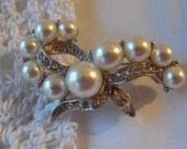 Vintage Silver with White Faux Pearl and Clear Rhinestone Brooch