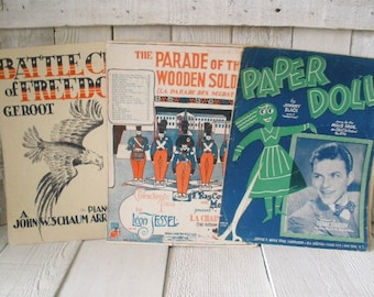 Three vintage sheet music Art Deco Nouveau covers Frank Sinatra 1940s