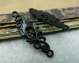 10pcs 12x36mm The Flowers Conntact Black Bronze Retro Pendant Charm For Jewelry Bracelet Necklace Charms Pendants C6434