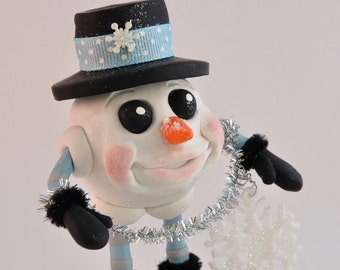Polymer Clay Holiday Snowman Figurine