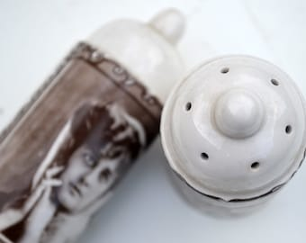 Art Nouveau Vintage Woman Salt and Pepper Shaker Set