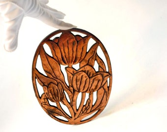 Copper Tulips trivet, art nouveau style oval metal pot holder by Marble Design 1982