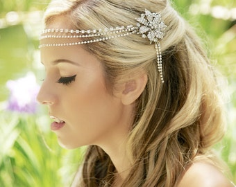 Silver Crystal Headband, Crystal Headdress, crystal tiara,  Silver bridal, crystal wedding headpiece, crystal forehead piece, READY TO SHIP