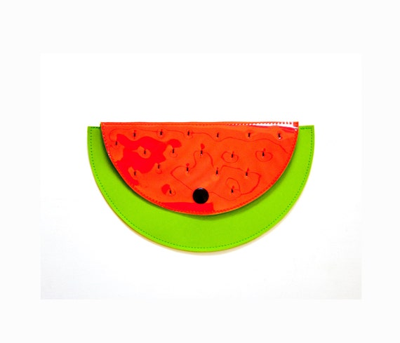 Watermelon fruit pouch purse / boho handbag / neon clutch / girlfriend gift