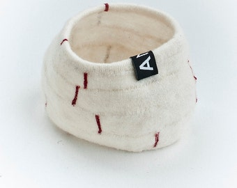 Textile Shapes, off-white with red decor no1