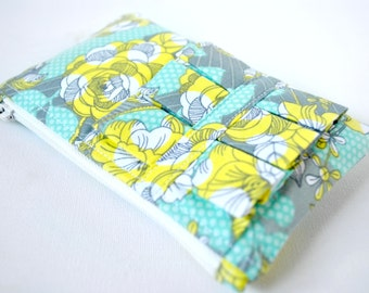 Woman's coin purse wallet summer floral flower print in aqua blue, grey and yellow with ruffle.