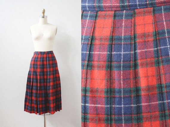 "Vintage Pendleton Skirt / PENDLETON wool / Tartan Plaid Skirt / 26"" Waist"