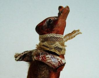 Faux taxidermy rabbit **RESERVED**,  rabbit totem animal, rabbit sculpture brown, curiosity cabinet rabbit, brown rabbit model