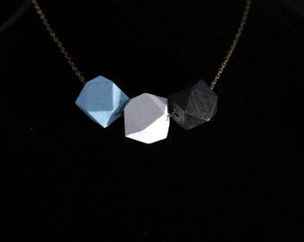 Geometric Wood Necklace- blue, white, black