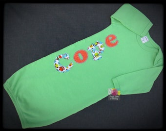 Personalized Baby Boy Gown, Lime Green Infant Gown, Green Newborn Gown, Personalized Baby Gown, Monogrammed Baby Outfit, Going Home Outfit