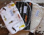 Baby Boy Burp Cloths - les monsieurs Village, Race Cars & Chevron - Set of 3
