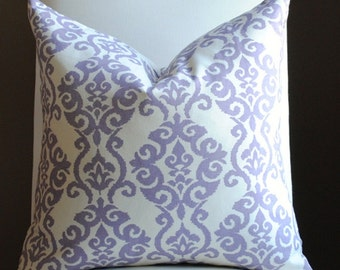 SALE-Decorative Pillow Cover -20x20-BOTH SIDES- Waverly-Luminary-Accent Pillow-Toss Pillow-Purple-Cream