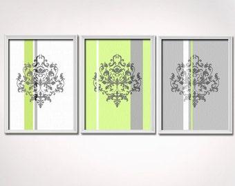 Lime Green and Gray Art Print Set, 3 prints 8x10 each, Damask Wall Art