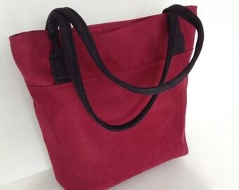 vegan burgundy  tote, dark red with black shoulder straps bag , large tote, shoulder bag with long rounded handles,
