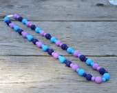 sassy cassie purple and blue silicone teething necklace with breakaway clasp