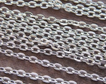 32 feet Antiqued Silver Cable Chain 3mmx2mm Cables 10 meters Nickel Free