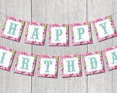 Happy Birthday Banner (Roses) Printable Banner- INSTANT DOWNLOAD
