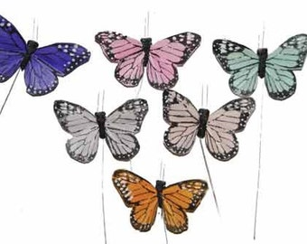 12 pc 3 Inch Pastel Butterflies (BF785) Feather Butterflies for Weddings, Parties, Costumes, Bouquets, Decorating ON SALE!