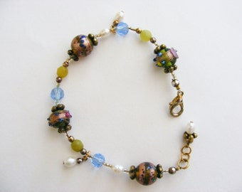 Boho Chic Glass Bead Goldtone Bracelet