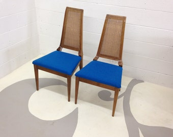 FREE SHIPPING mid century modern chairs set of two with tweed turquoise fabric