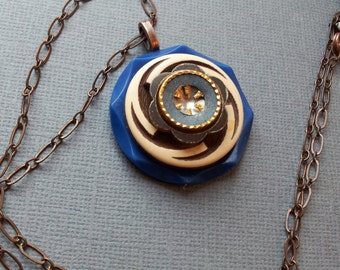 Vintage Button Necklace with Swirls and Stars